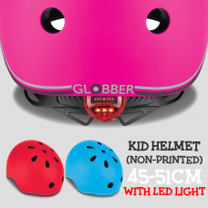 Globber Adjustable Kid Helmet Go Up 45-51cm (non-print) with LED Lights