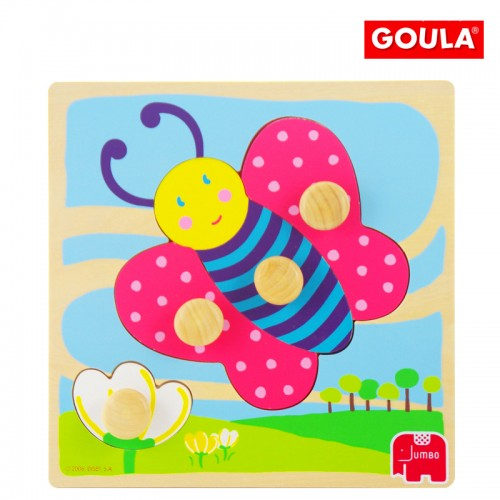 Wooden Peg Puzzle Butterfly 4 Pieces