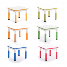 Square Plastic Height Adjustable Table 600W X 600L X 460-580H (mm)
