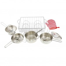 13 Piece Stainless Steel Pretend Play Cookware Set