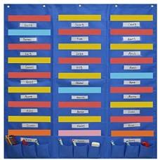 Heavy Duty File Organizer Folder Storage Pocket Chart (27 File Pockets with Nametag + 9 Small Pockets)