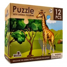 Wenno Puzzle 12 pcs with Animal Figurine - Giraffe