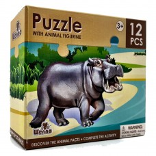 Wenno Puzzle 12 pcs with Animal Figurine - Hippo
