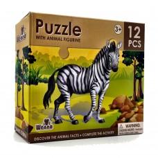 Wenno Puzzle 12 pcs with Animal Figurine - Zebra